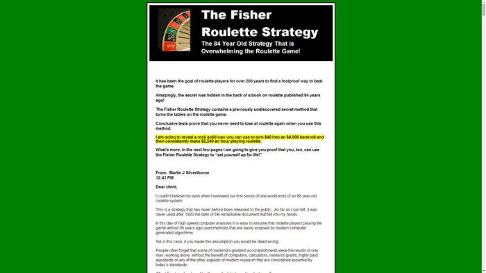 Does the fisher roulette strategy work bingo no deposit win money